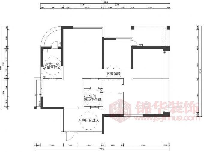 星雨华府e-138平方米户型解析-装修设计方案-南京锦华