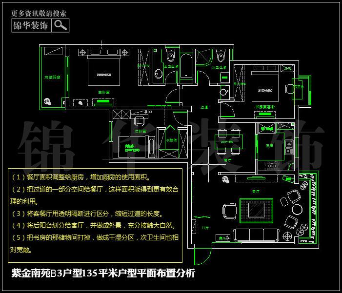 金南苑b3户型135平米户型解析 装修设计方案 南京锦华装饰
