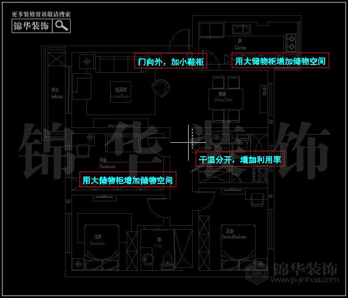 梅花山莊平面布置分析↓  梅花山莊三室兩廳裝修效果圖戶型