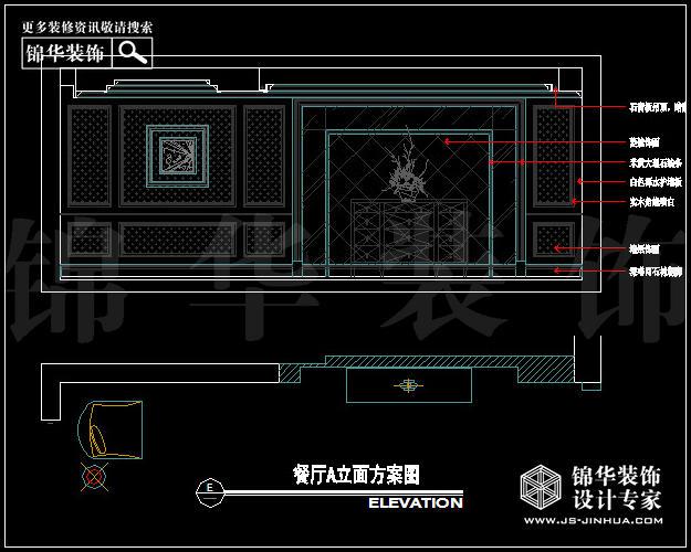 户型优点: (1)电梯入户、大空间、相对独立的卫生间尽显大宅的尊贵 (2)框架结构,空间可以根据需要进行很好的整合 户型缺点: (1)厨房空间不够宽敞 (2)北阳台没有很好的利用,显示大宅的空间 (2)客厅是大开间,短径深 设计说明: (1) 本案围绕简欧为主题,以暖色为主调的颜色,给人一种温暖、奢华、自然、典雅的气氛。