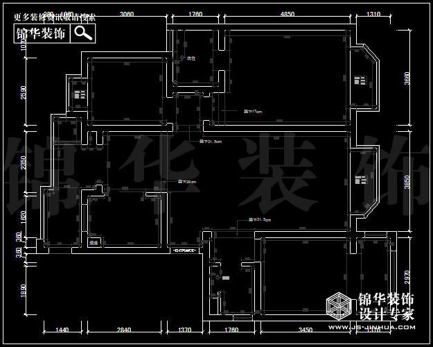 五矿御江金城A2户型140平米  户型