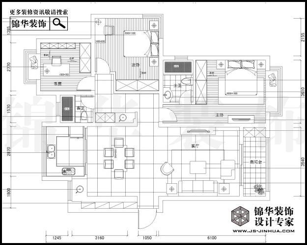 五矿御江金城C3户型145平米  户型