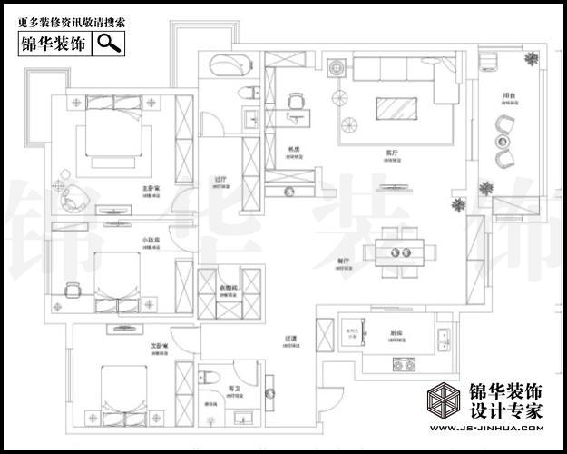 天正滨江E1户型183平米 户型